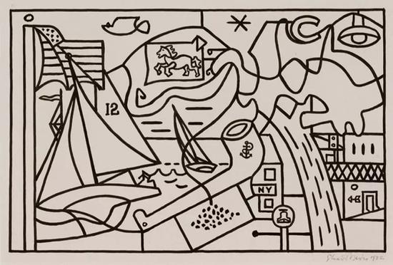 """斯图尔特·戴维斯,《没有女人的男人》草图(Study for """"Men Without Women""""),1932。@斯图尔特·戴维斯遗产委员会/VAGA 授权,纽约。图片致谢 Kasmin 画廊,纽约"""