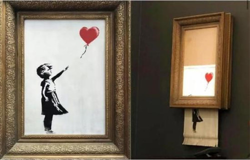 班克斯的画作《女孩与气球》拍出后,框内画作缓缓下滑并被内置碎纸机切碎。