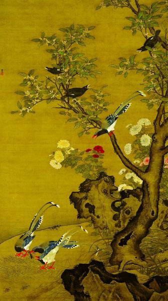 桂菊山禽图(国画) 明 吕纪