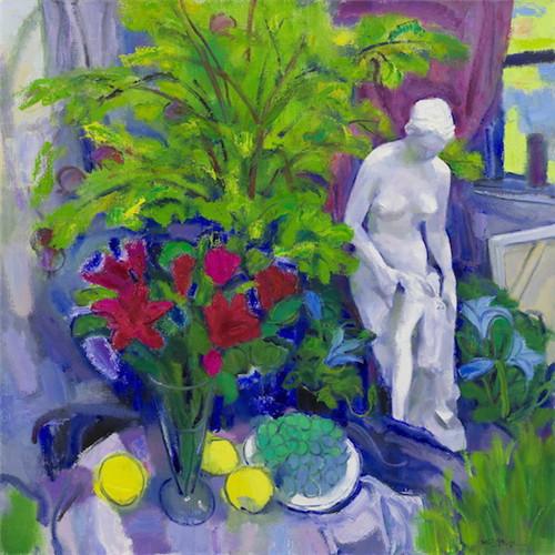 《雕像花果园》,陈钧德,版画