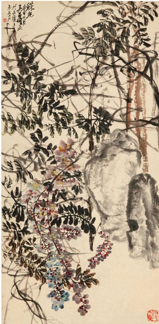 吴昌硕 珠光 139.6×69㎝ 纸本水墨设色 1920年 中国美术馆藏