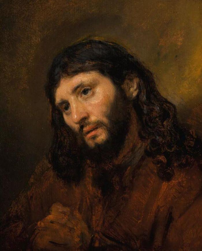 《双手交叉的年轻男子头像习作,祈祷中的基督》  伦勃朗·哈曼兹·凡·瑞金(或译林布兰) 油彩橡木画板 25.5 x 20.1公分 估价:6,000,000 — 8,000,000英镑