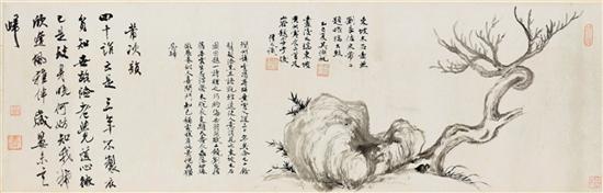 相隔800年的君子相惜:吴湖帆临苏轼《枯木竹石图》