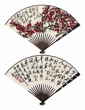 齐白石 1952年作 桃花·行书 成扇 设色纸本 RMB  600,000-800,000 RMB  2,415,000 北京保利2018秋季拍卖会