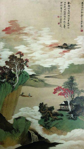 江城晚彩(国画) 106×49厘米 1940年 郑午昌 中华艺术宫藏