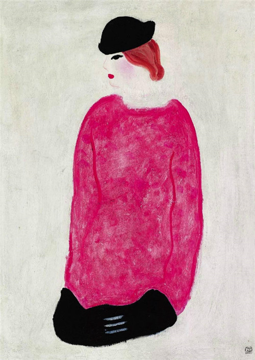 常玉 《红衣女子》 布面油彩 74x50cm 约1930-1940年代