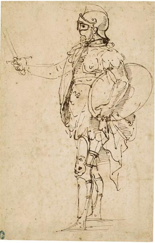 最新发现的拉斐尔素描《盔甲士兵侧面立像》将拍