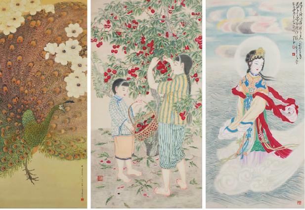 郑锦作品图(从左至右):玉兰孔雀(绢本)、采荔(纸本设色)、洛神(纸本设色)