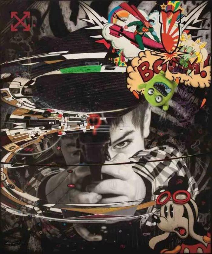 罗纳德  温杜拿(Ronald Ventura)《轰》 2017, 油彩画布, 182.5 x 152 公分 估价:200万至300万港元 首现拍场,此画来自菲律宾当代艺术家温杜拿的全新系列《动漫生活》,该系列在画家日本首个个展中首度展出 展现画家精湛技艺,内容甚具玩味与慑人魅力,糅合超现实主义、卡通图像与涂鸦,精彩慑人 转载旨在分享,文章、图片版权归原作者所有,如有侵权,请联系我们进行删除。