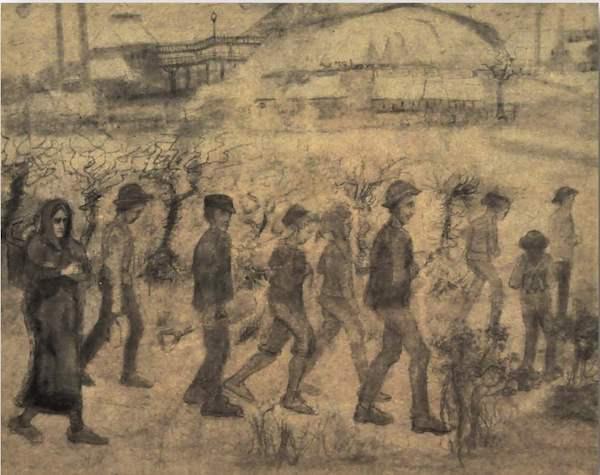 麻木的忧伤…梵高《监狱庭院》(1890)。图片/普希金国立美术博物馆,莫斯科