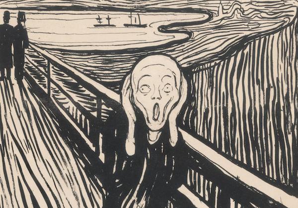 爱德华·蒙克(1863-1944),《呐喊》(局部),石版印刷,创作于1895年。