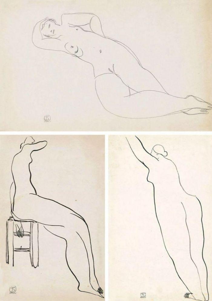 躺着的裸女,坐着的裸女,站着的裸女