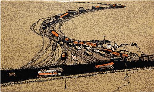 关维晓(中国) 戈壁之路 89.5×55cm 1984年