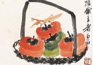 赏白石老人画笔下的柿子画