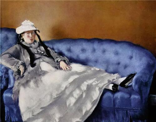 ▲《躺在椅子上的马奈夫人》