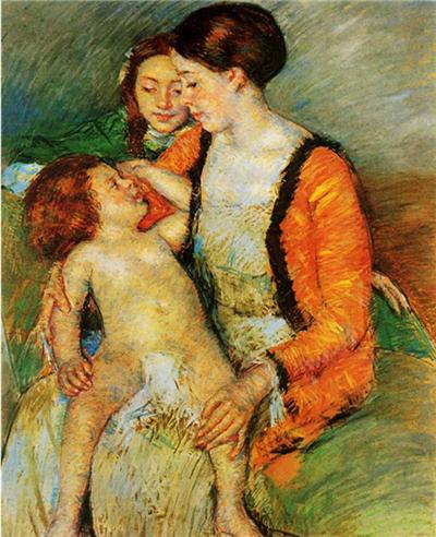 ▲《母亲、小女与幼子》